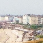 View from the north coastline looking along the Bridlington beach, East Yorkshire, UK